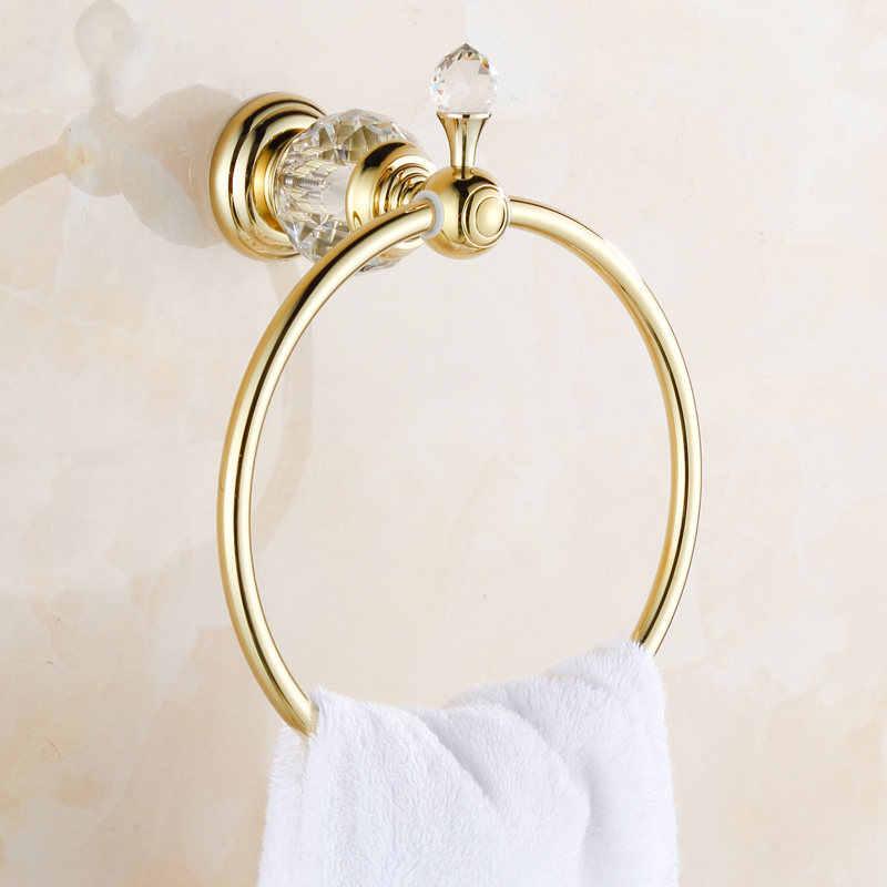 Uchwyt na papier kryształ mosiądzu złota papieru ubikacja wieszak ścienny mydelniczka wieszak na ręczniki wieszak na ręczniki Bar uchwyt na kubek akcesoria łazienkowe HK-40