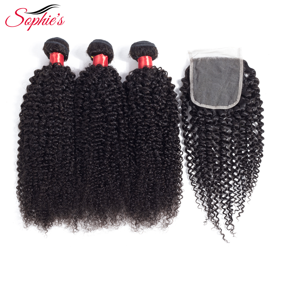 Sophies Human Hair Bundles With Closure Malaysian Kinky Curly Hair Extensions 3 Bundles Non-Remy Hair Weaves Natural Color