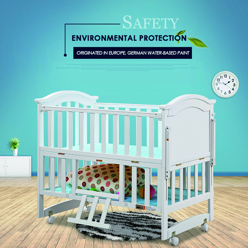 Russian warehouse environmental protection Baby multifunction wood crib solid wood baby bed bedding kids wooden bed baby shaker high quality solid wood children bed lengthen widen baby wooden bed combine big bed child kids baby crib