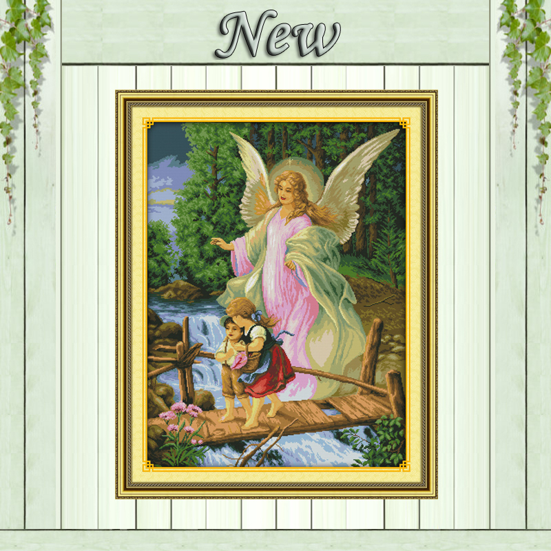 guardian angel baby Scenery Painting Drawing counted print on fabric 14CT 11CT DMC Cross Stitch kits Needlework Sets Embroidery