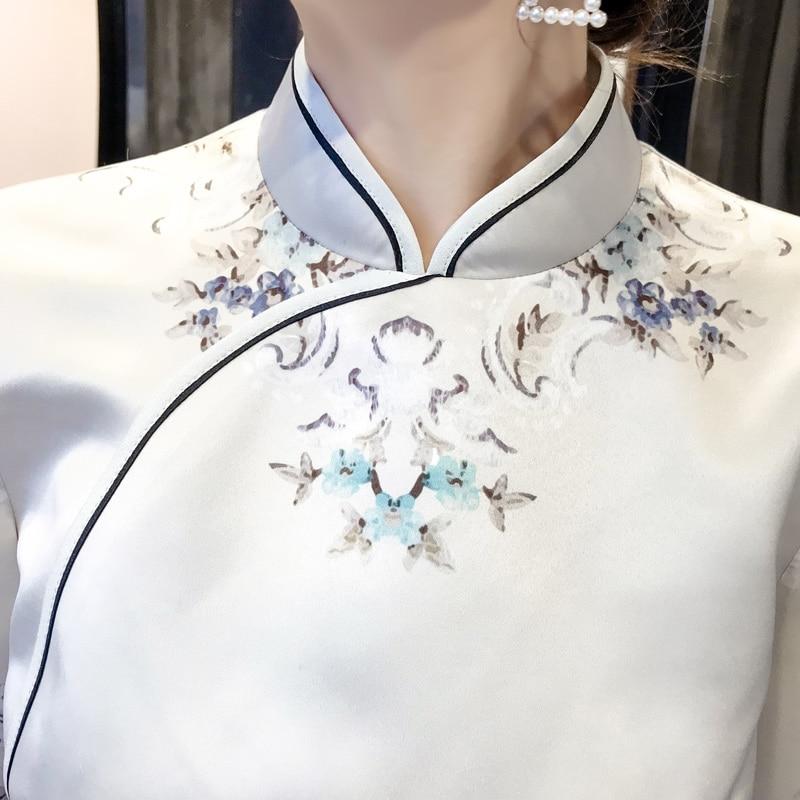 Printemps automne trois quarts manches femme Cheongsam Style chinois imprimé fleur robe nouveauté col Mandarin Qipao Vestidos-in Robes from Mode Femme et Accessoires    3