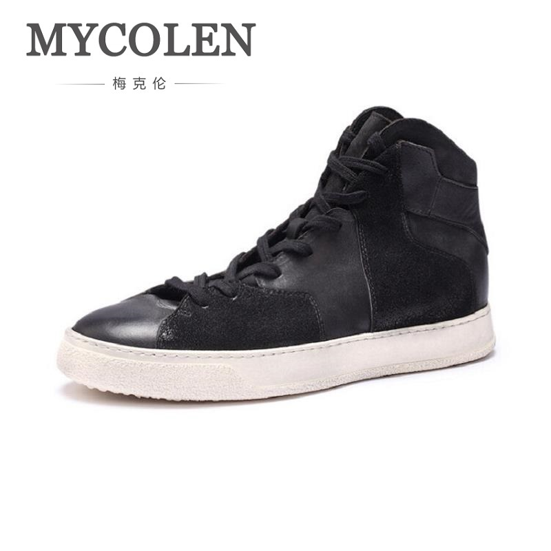 MYCOLEN Flats Leather Casual Shoes Men Breathable Fashion Simple Male Shoes Man Durable Lace Up High Shoes Zapatos Hombre fashion high top mens genuine leather work casual shoes lace up tenis flats footwear breathable male shoes punk zapatos hombre