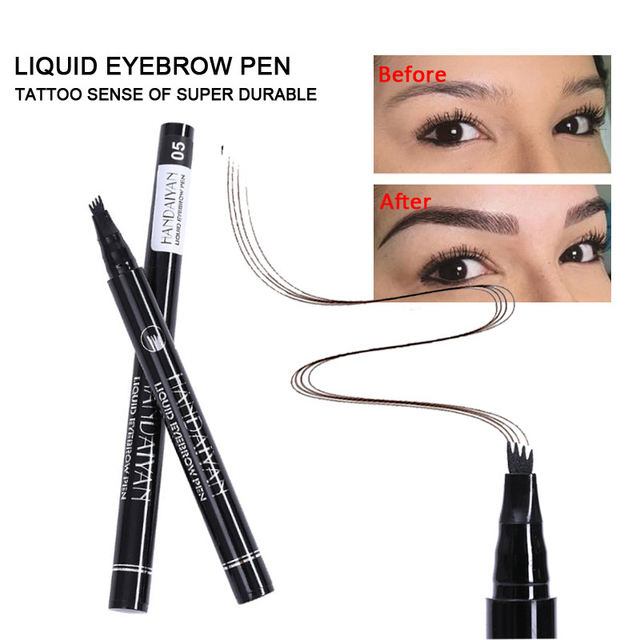 5 Color Microblading Eyebrow Pencil Waterproof Fork Tip Tattoo Pen Tinted Fine Sketch Eye Brow Pencils Long Lasting Eyebrows 3