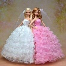 Высокое Качество Элегантный Свадебное Платье Для Куклы Барби Платье + Фата Кружева Платье Для 1/6 Куклы Одежда