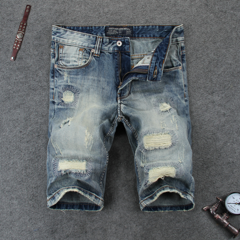 High quality shorts jeans men blue denim moto jeans original brand shorts 29-38 men`s short jeans ripped knee length shorts 109 цена 2016