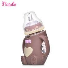 240ml Baby Silicone glass Milk Feeding Bottle Width Proof Milk Bottles gift Baby Drinking Water Straw Handle Feeding  Kids Cup