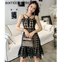 Ladies clothing New summer Cross strap spaghetti dress woman sleeveless Black Lace patchwork hollow out sexy mini dresses female