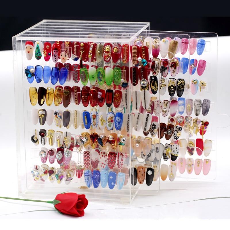 2018 New Fashion design Nail gel display Box Clear Acrylic Display shelf Nail sample display shelf