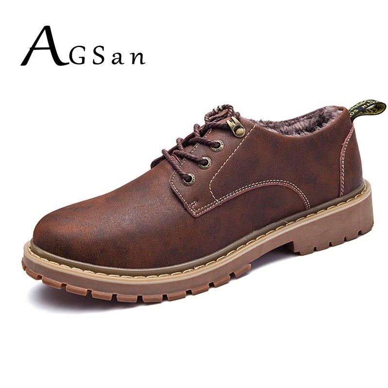 Neue Mode Agsan Arbeit Stiefel Männer Winter Herbst Pelz Plüsch Warme Sicherheit Stiefel Schuhe Große Größe 37-47 Stiefeletten Braun Arbeits Schuhe Für Männer Herrenschuhe