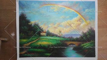 Rainbow Hand Painted Art Canvas Painting Hang Paintings Modern Seascape Landscape Paintings Canvas Painting For Living Room