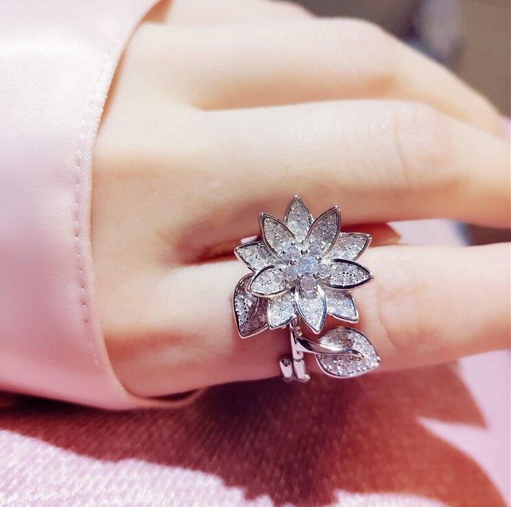 Réel 925 en argent Sterling Double ouvert Lutus fleur Bijoux fins dans la pluie anneau anneaux ouverts pour les femmes femmes Bijoux en gros