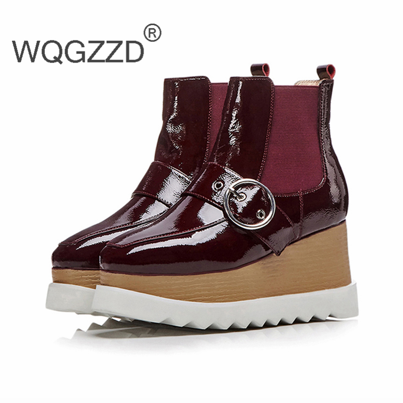 c02608a8fc0 Femme Botines De wine Chaussures Plana Ete Red Zapatos Charol Botas Mujer  Plataforma Cuñas 2018 Black RwqZw1d