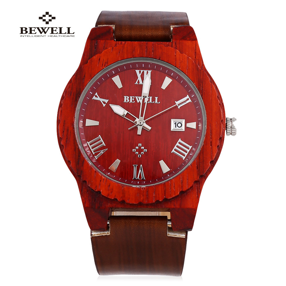 Подробнее о BEWELL Men Business Wood Quartz Watch Luxury Brand For Men Genuine Leather Waterproof Date Display Wristwatch Relogio Masculino japan style men s watch natural wooden wristwatch wood quartz watch box nice gifts for men relogio masculino 2016 luxury brand