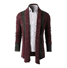 Wholesale ! 2017 male patchwork long sweater men design mens sweaters outerwear pull homme marque cardigan brand-clothing