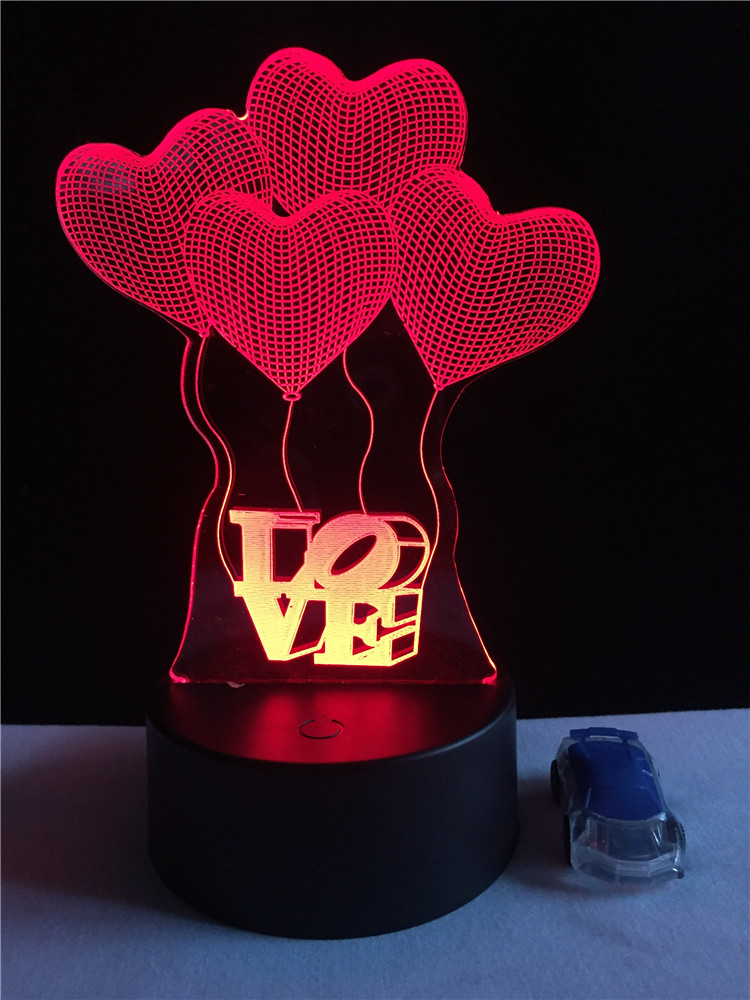 Love Heart Balloon 3D Lamp LED USB Night Light Colors Changing Table Bedside Decoration Fixtures Home Lover Gift Valentines DayLove Heart Balloon 3D Lamp LED USB Night Light Colors Changing Table Bedside Decoration Fixtures Home Lover Gift Valentines Day