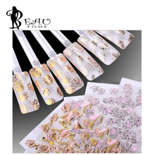 Beautome 3D Nail polish sticker decals phototherapy pink flower applique pink gold / silver powder for UV gel nail decorations