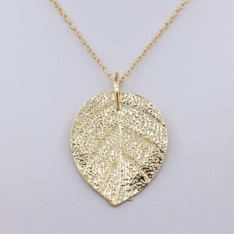 oak itm zhannel lacey pendant yellow leal chain real with necklace is image gold loading leaf in