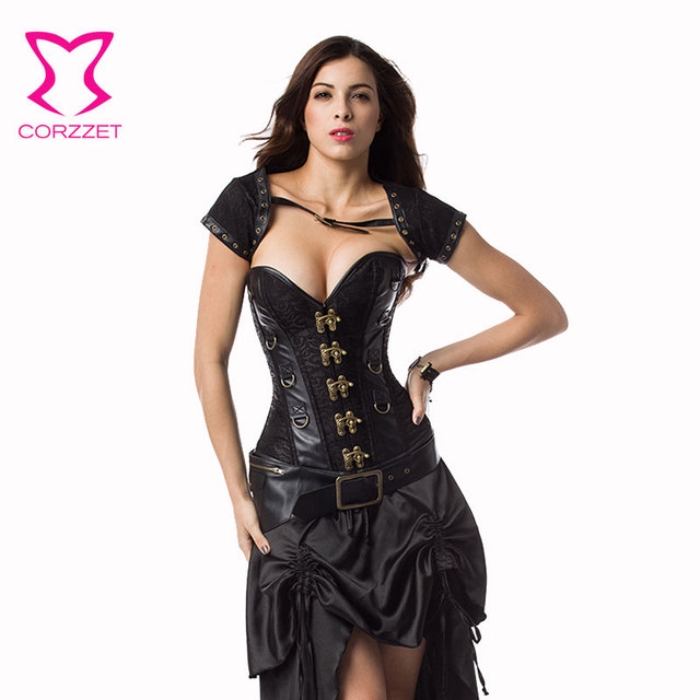 9bf28bbacf Corzzet Vintage Black Brown Leather Steampunk Overbust Corset And Jacket  Steel Boned Sexy Gothic Plus Size 6XL Corselet