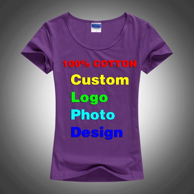 Slim Sexy logotipo personalizado foto texto impreso mujer T camisa verano  fresco básica señora camisetas Tops de manga corta Camisetas Mujer camiseta  en ... c6284b78079bd
