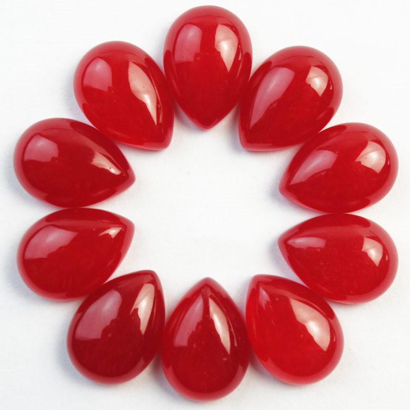 2016 New!!! Yuteng 8Pcs Red Stone Teardrop CAB CABOCHON 18x13x7mm SHX2193 (Min. Order is $10)