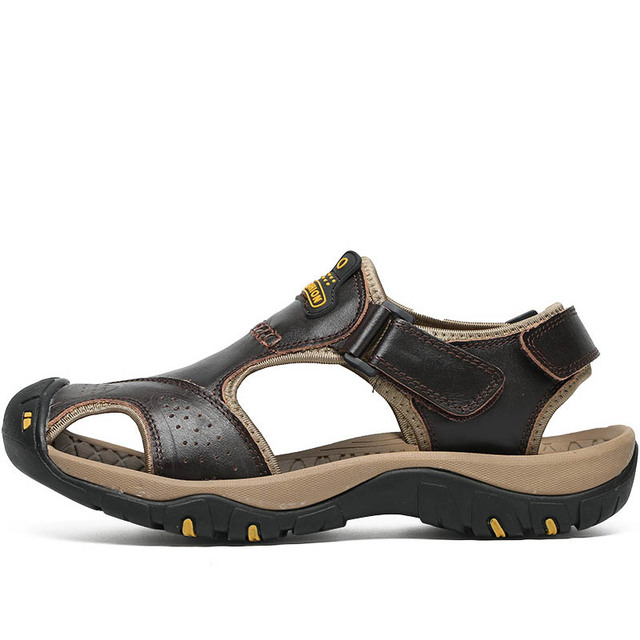 VESONAL Brand Genuine Leather Summer Soft Male Sandals Shoes For Men Breathable Light Beach Casual Quality Walking Sandal 2018