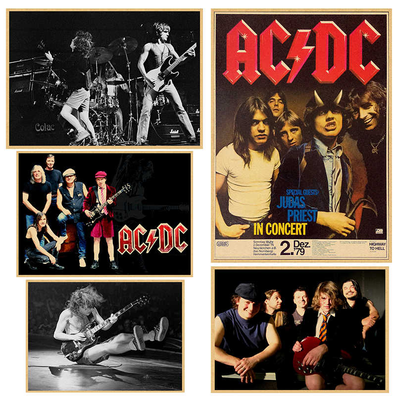 Vintage Poster ACDC Kraft retro retro old rock and roll old poster Euro & American music team star retro poster