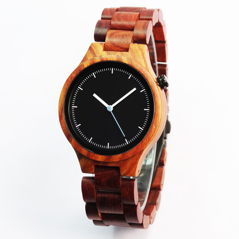 Modern Elegant Mens or Womens Solid Red Sandal Wood Watch with box