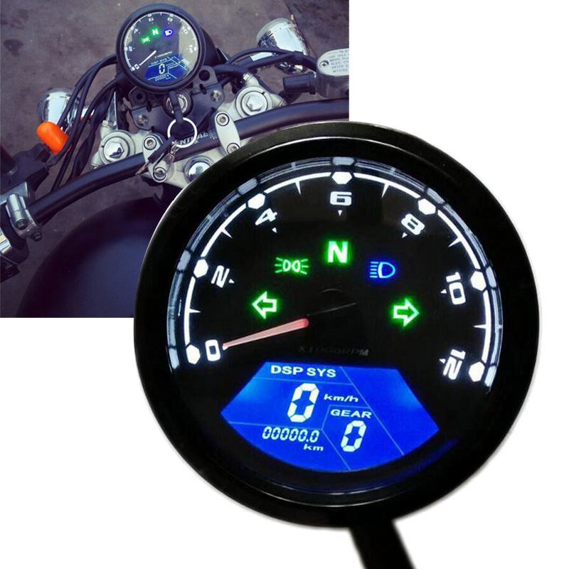Speedometer Tachometer Gauges Low Oil LCD Display Speed Meter Motorcycle Dashboard cuenta horas moto Universal Tachometer #B image