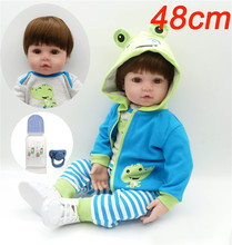 2018 NEW Sports design 48cm Silicone Doll Reborn Baby in blue stripes Toy For baby Newborn Gift Child Bedtime model DIY