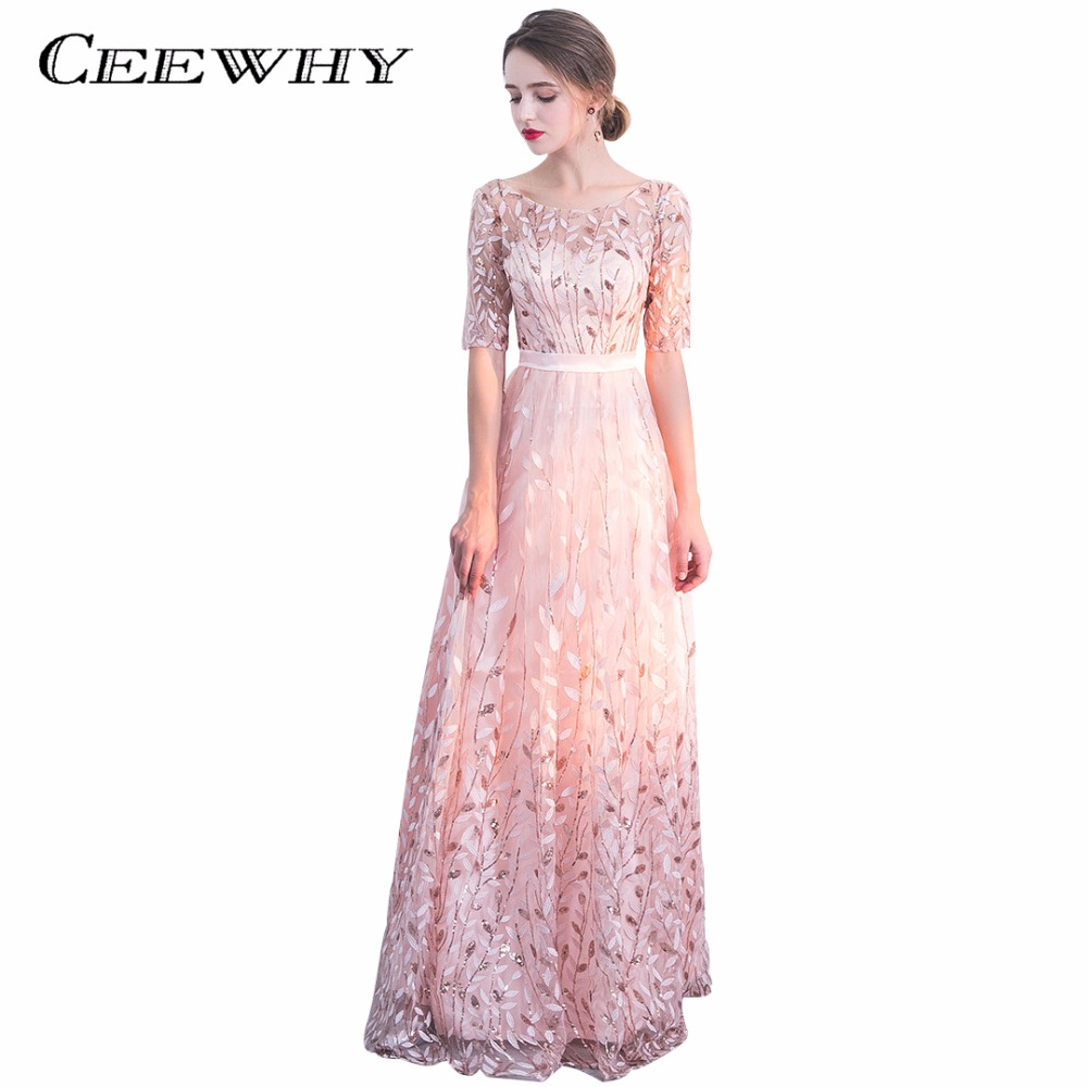 CEEWHY Half Sleeve Formal Gown See Through Sequined Beading Handwork Luxury Evening  Dresses Prom Gown Abiye Gece Elbisesi 0aeef0dbc288