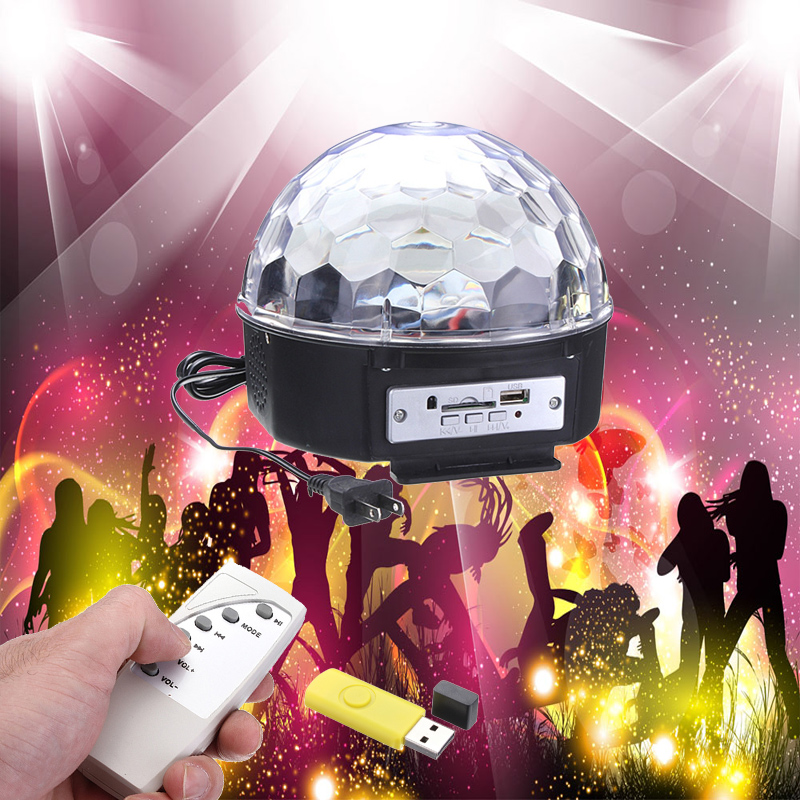 LED MP3 USB Crystal Light  DJ Club Pub Disco Home Party Music Crystal Magic Ball Stage Effect Light with USB Disk Remote Control new arrival rgb led mp3 crystal magic ball stage effect light dj club disco party lighting music with usb disk remote control