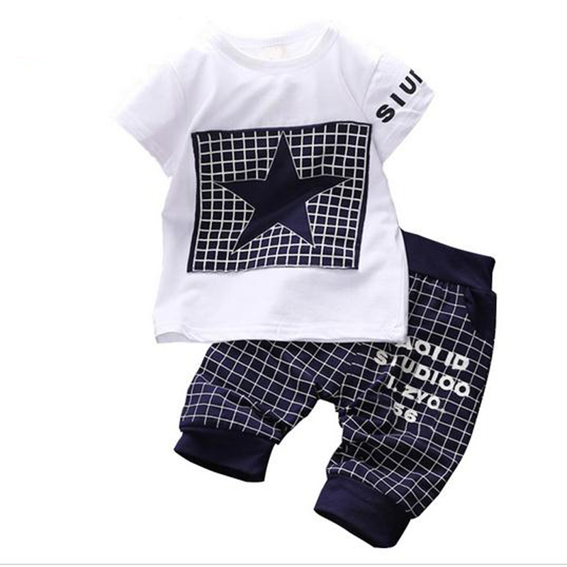 hot sale Baby boy clothes Brand summer kids clothes sets t-shirt+pants suit Star Printed Clothes newborn sport suits