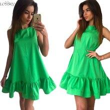 Lossky 2017 Summer Dress Women's Vestidos Sexy Ruffle Dresses Sleeveless Casual Big Size Bodycon Dress Summer Mini Dresses