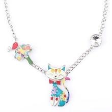 Newei Collar Llamativo Aleación Del Esmalte de Gato Colgantes 2016 Nueva Joyería Para Las Mujeres Del Encanto Collares de Cadena Larga Accesorios