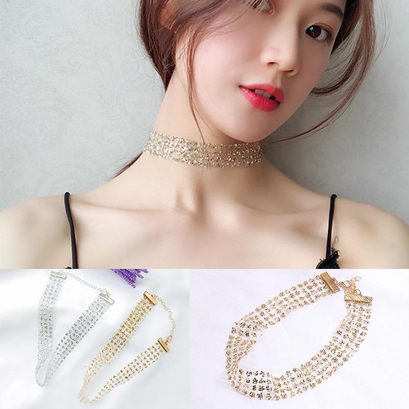 Chic Glitter Rhinestone Jewelry Crystal Party Gifts Women Fashion Boho Necklace Choker