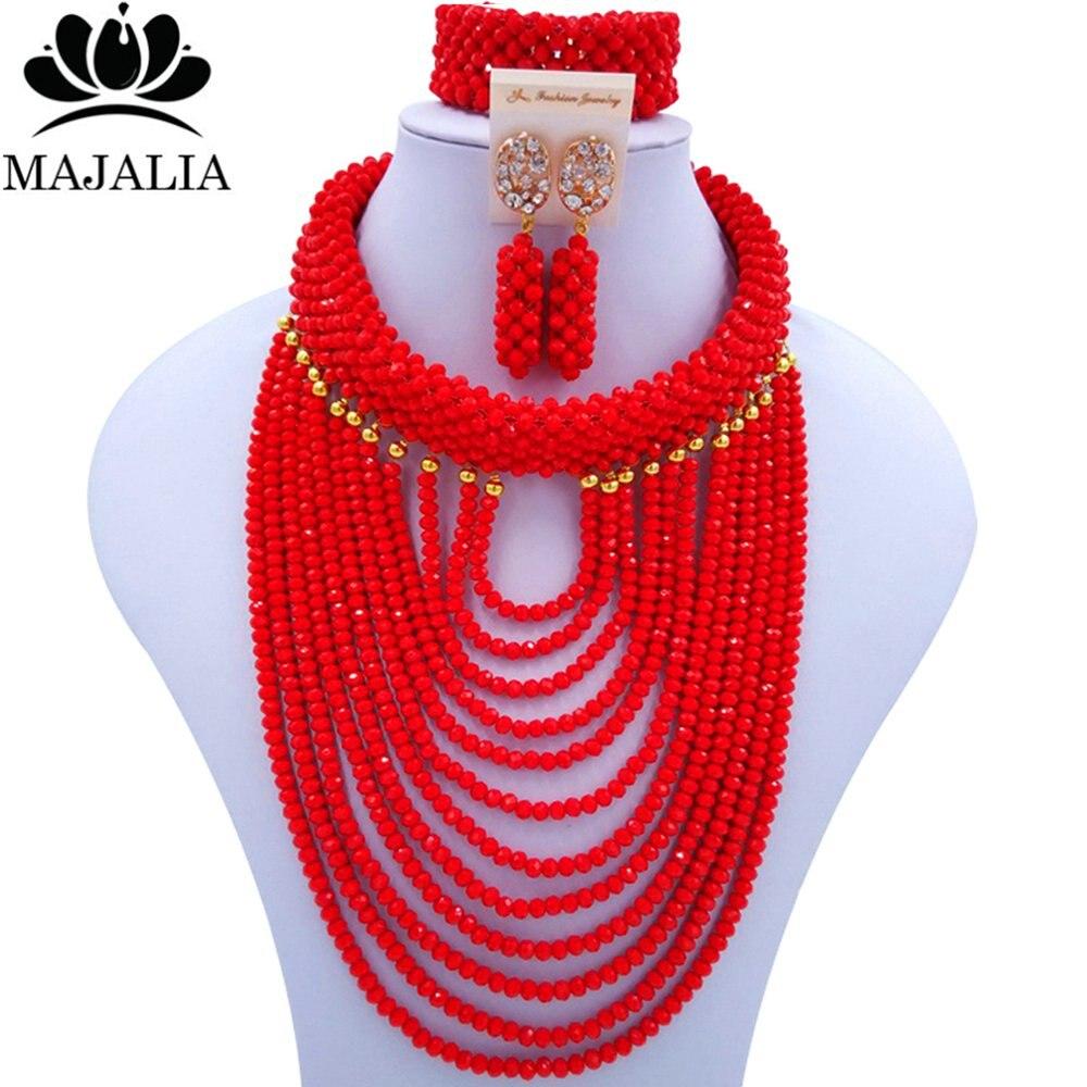 Majalah Classic Nigeria Wedding African Beads Jewelry Set Opaque red Crystal Necklace Bracelet Earrings Free Shipping VU021 цена