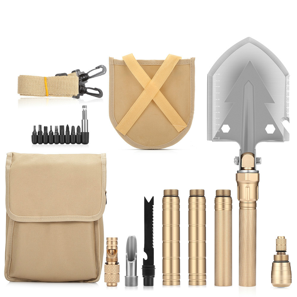 10in1 kit de pelle de camping tactique de survie en plein air multifonctionnel militaire pliant pelle jardin pelle outil multi-outils boussole