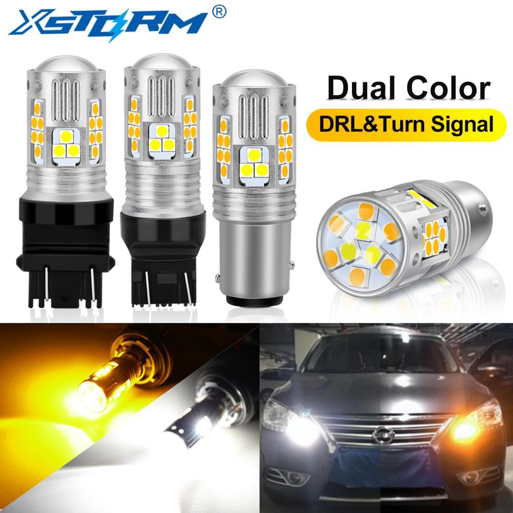 2 шт. двухцветные 1157 BAY15D P21/5 Вт Led T20 7443 W21/5 Вт светодиодные лампы T25 3157 P27/7 Вт Автомобильные DRL поворотные сигнальные лампы автомобильные лампы 12 В|Сигнальная лампа|   | АлиЭкспресс
