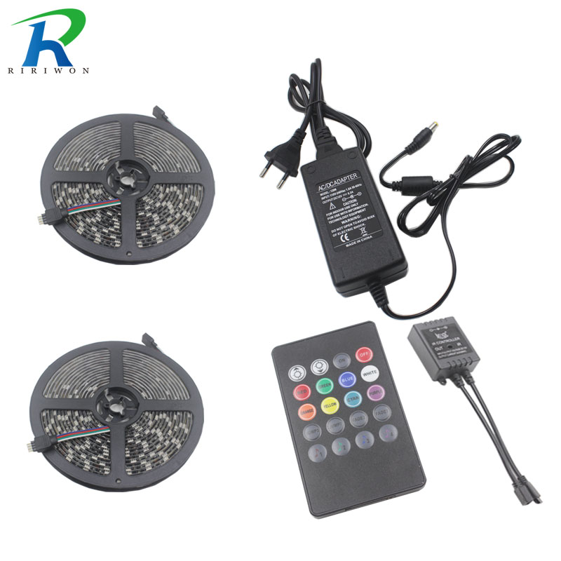 RiRi won BLACK PCB led strip light smd 10M 5050 RGB led no waterproof 600LEDs Tape music controller DC 12V 6A Power supply
