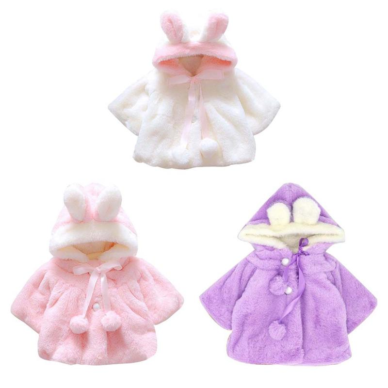 Baby Girls Coat Winter Warm Thick Fleece Cloak Cute Rabbit Ears Shape Long Sleeve Hooded Coat Fashion Girls Jackets Outwear