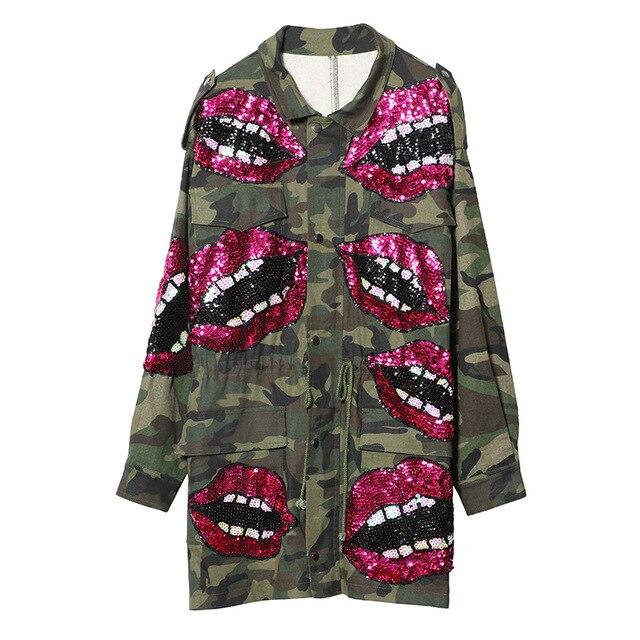 2db3969014e6b 2018 Top Brand Autumn Women Jackets Coat Sequins Lips Army Green Women Bomber  Jacket Coat Women Tops Oversize Outwear Coats
