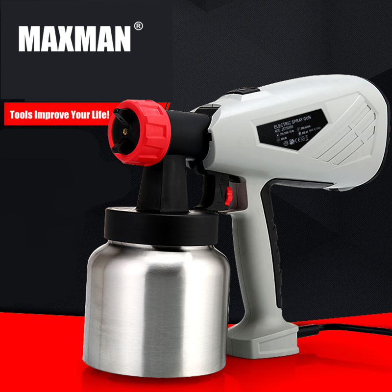 MAXMAN 800ml Airbrush Electric Paint Spray Gun 600W Professional Sprayer Painting Atomizer Tool with Funnel for Painting Car fujiwara electric spray gun latex paint sprayer paint spray gun paint painting tools pneumatic high atomization 2 5mm