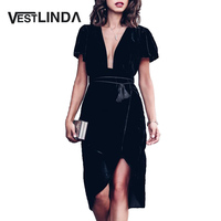 VESTLINDA Elegant Velvet Black Dress Women Spring Summer Casual Velour Mini Dress Sexy V Neck Short