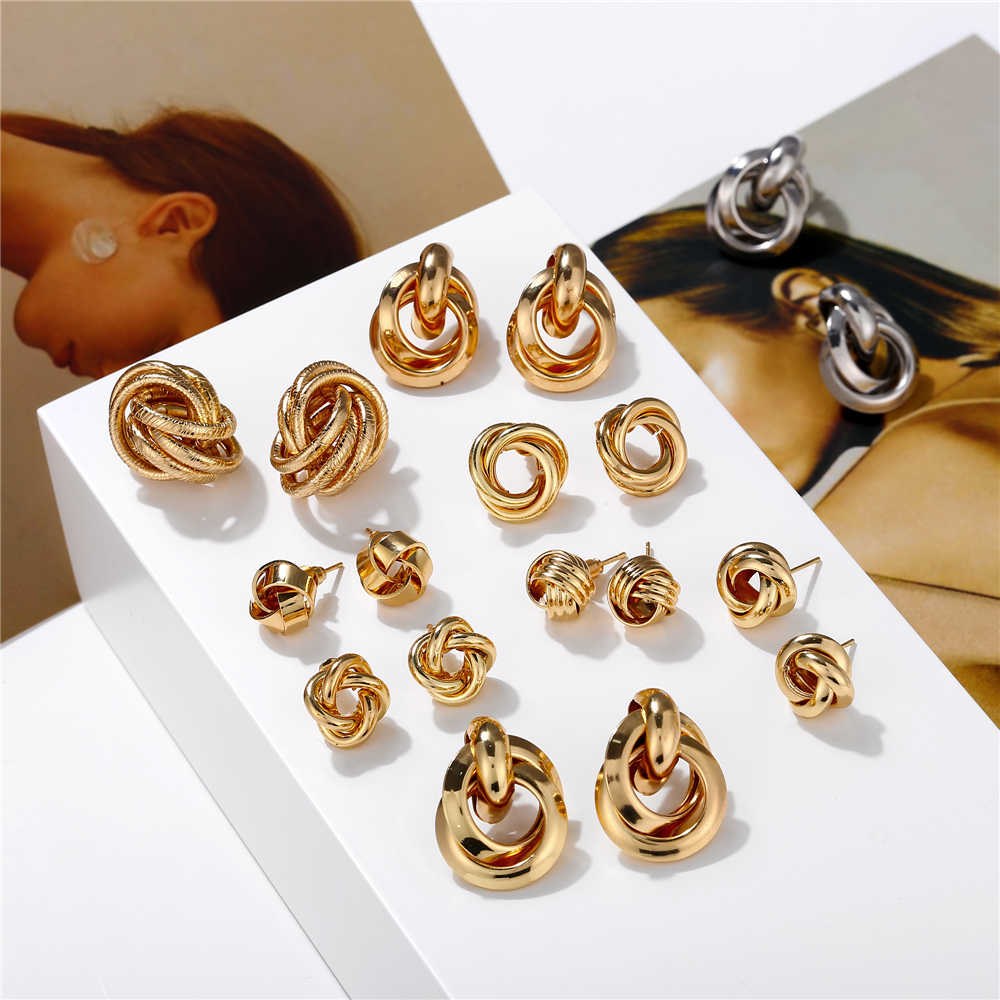 17KM Vintage Gold Twisted Stud Earrings For Women 2019 New Geometric Knot Metal Maxi Round Earring Brincos Statement Jewelry