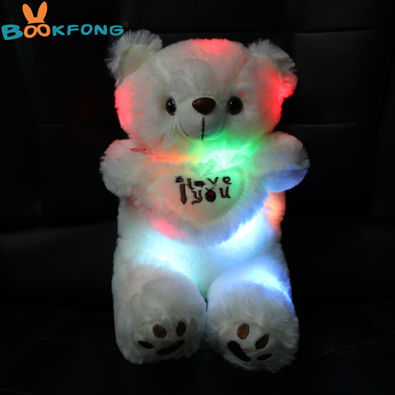 BOOKFONG 30cm Colorful LED Glowing Bear Stuffed Animal Light Up Bear Plush Toys Doll For Kids Christmas Birthday Gift Decoration bookfong 1pc 35cm simulation horse plush toy stuffed animal horse doll prop toys great gift for children