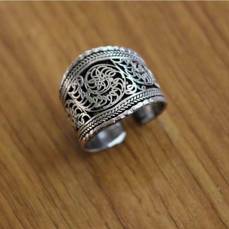 RG078 Tibetan Silver Vintage Rings For Man Thumb Ring Handmade Nepal Antiqued Flower Silk Open Back Ring Adjustable Ring