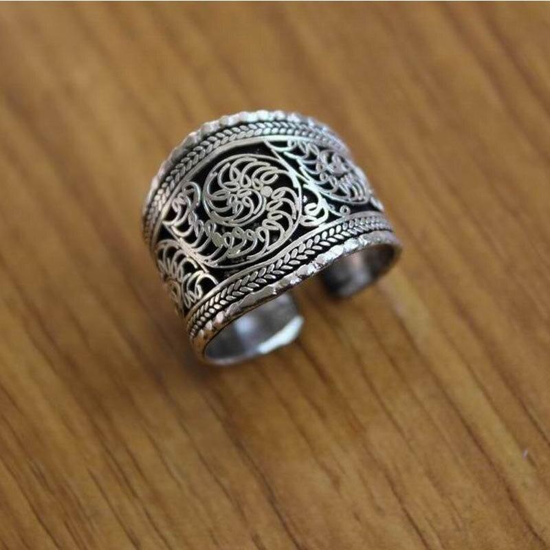 Schmuck & Zubehör FäHig Rg078 Tibetischen Silber Vintage Ringe Für Mann Daumen Ring Handmade Nepal Antiqued Blume Seide Open Back Ring Einstellbare Ring