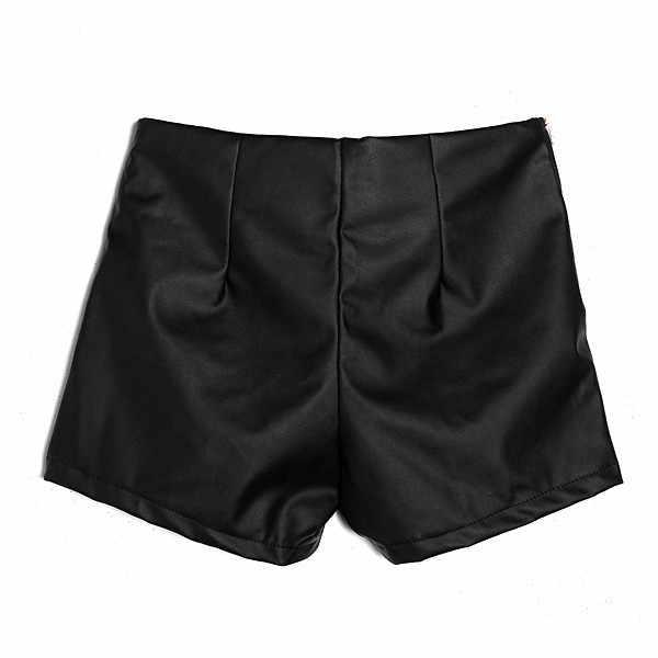 ผู้หญิง Slim สีดำซิป PU หนังกางเกงขาสั้น 2018 ใหม่แฟชั่น Casual หนังกางเกงขาสั้น