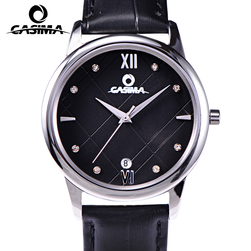 CASIMA Women Watches Waterproof Gold Silver Fashion Crystal Ladies Quartz Wrist Watch Clock Leather Strap Saat Relogio Feminino casima brand women watches waterproof fashion casual rose gold bracelet quartz ladies wrist watch clock saat relogio feminino