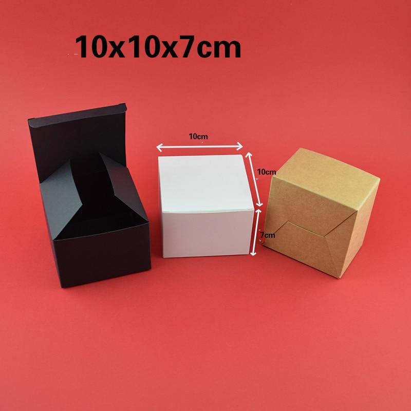 Marchandises à usage général 10x10x7 cm pli Kraft boîte d'emballage de thé en carton noir personnaliser impression cadeau dorure manuelle boîte à savon